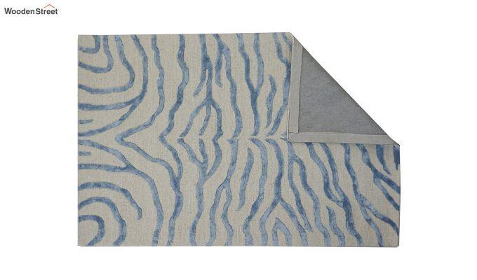 Blue Chevron Design Wool & Viscose Hand Tufted Carpet - 6 x 4 Feet-10