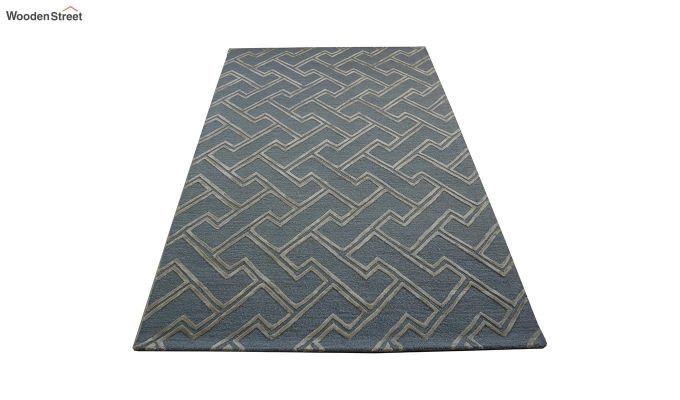 Blue Chevron Design Wool & Viscose Hand Tufted Carpet - 8 x 5 Feet-2