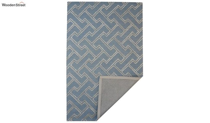 Blue Chevron Design Wool & Viscose Hand Tufted Carpet - 8 x 5 Feet-3