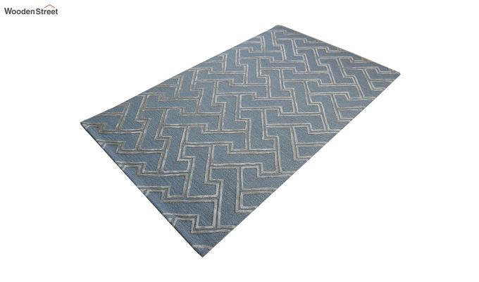 Blue Chevron Design Wool & Viscose Hand Tufted Carpet - 8 x 5 Feet-6