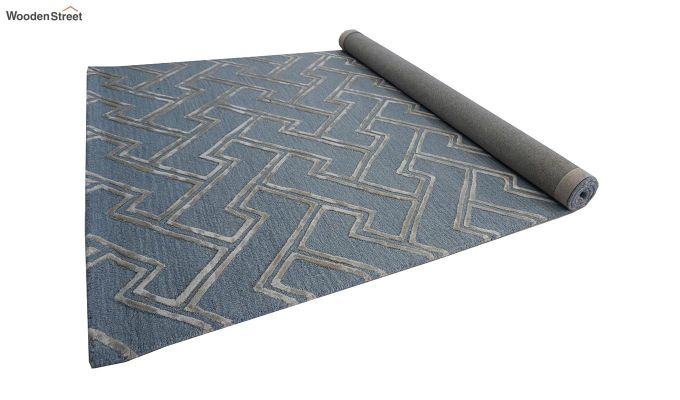 Blue Chevron Design Wool & Viscose Hand Tufted Carpet - 8 x 5 Feet-8