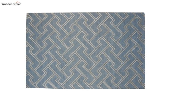 Blue Chevron Design Wool & Viscose Hand Tufted Carpet - 8 x 5 Feet-9