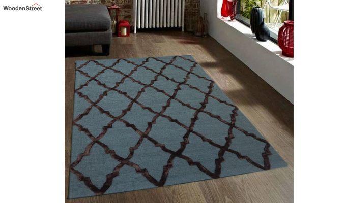 Blue Chevron Pattern Hand Tufted Wool & Viscose Carpet - 6 x 4 Feet-1