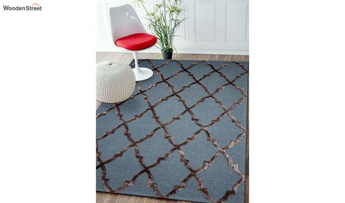 Blue Chevron Pattern Hand Tufted Wool & Viscose Carpet - 6 x 4 Feet-2
