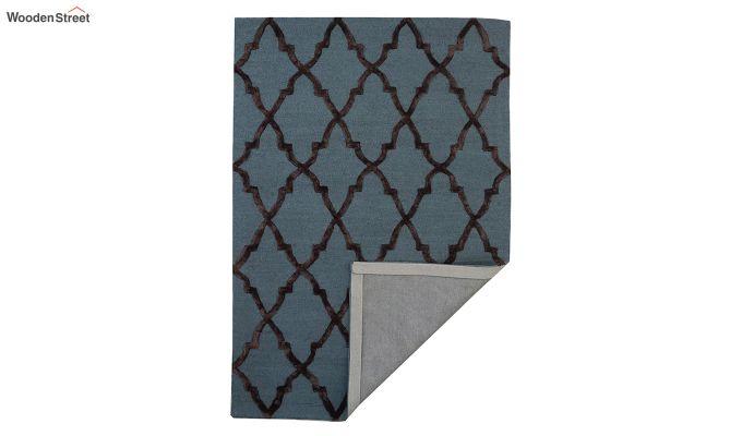 Blue Chevron Pattern Hand Tufted Wool & Viscose Carpet - 6 x 4 Feet-3