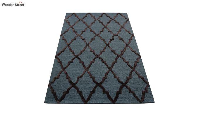 Blue Chevron Pattern Hand Tufted Wool & Viscose Carpet - 6 x 4 Feet-4
