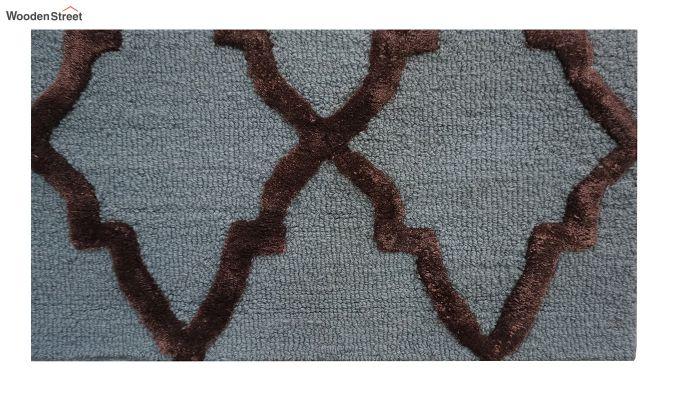 Blue Chevron Pattern Hand Tufted Wool & Viscose Carpet - 6 x 4 Feet-5