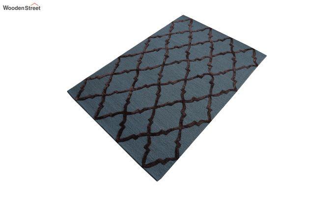 Blue Chevron Pattern Hand Tufted Wool & Viscose Carpet - 6 x 4 Feet-8