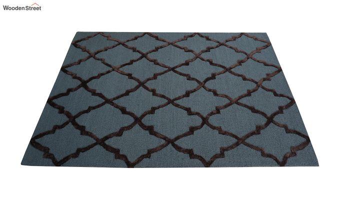 Blue Chevron Pattern Hand Tufted Wool & Viscose Carpet - 6 x 4 Feet-9