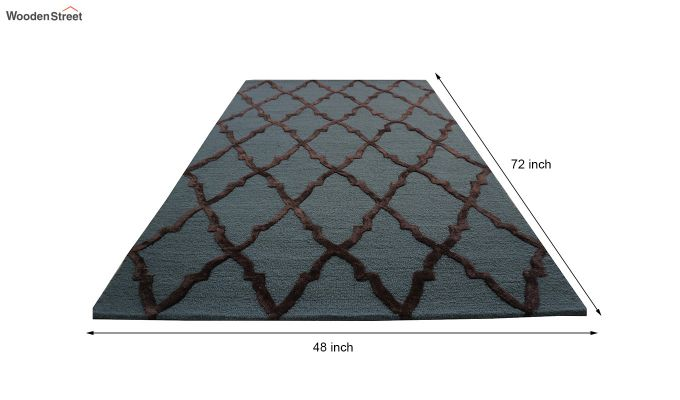Blue Chevron Pattern Hand Tufted Wool & Viscose Carpet - 6 x 4 Feet-10