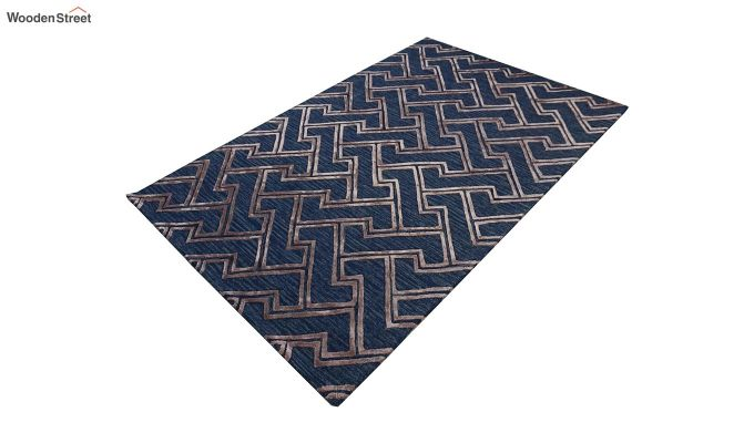 Blue Chevron Pattern Wool & Viscose Hand Tufted Carpet - 8 x 5 Feet-3