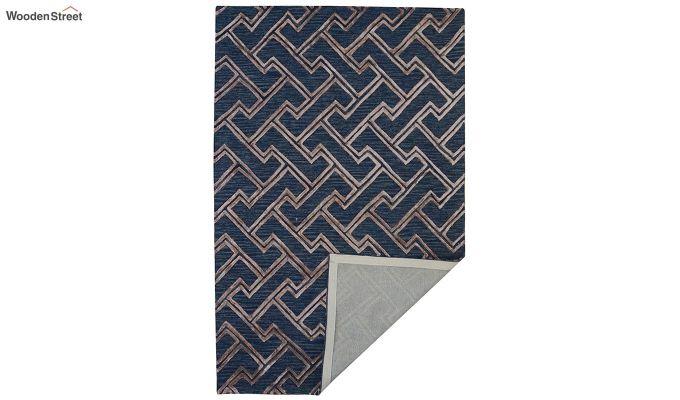 Blue Chevron Pattern Wool & Viscose Hand Tufted Carpet - 8 x 5 Feet-4