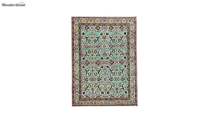 Blue Contract Polyester Yarn 3D Printed Vintage Persian Floor Mat - 6 x 4 Feet-3