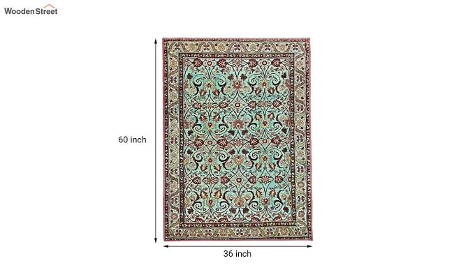 Blue Contract Polyester Yarn 3D Printed Vintage Persian Carpet - 5 x 3 Feet-6