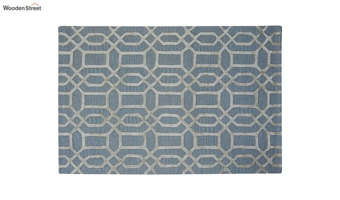 Blue Geometrical Pattern Hand Tufted Wool and Viscose Carpet - 6 x 4 Feet-4