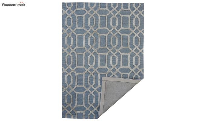 Blue Geometrical Pattern Hand Tufted Wool and Viscose Carpet - 6 x 4 Feet-5