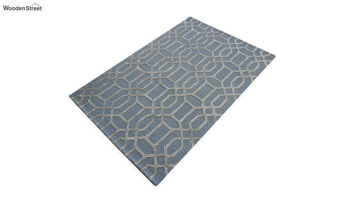 Blue Geometrical Pattern Hand Tufted Wool and Viscose Carpet - 6 x 4 Feet-6