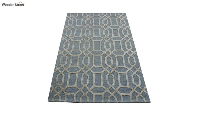 Blue Geometrical Pattern Hand Tufted Wool and Viscose Carpet - 6 x 4 Feet-7