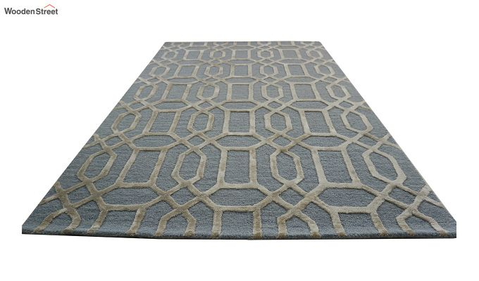 Blue Geometrical Pattern Hand Tufted Wool and Viscose Carpet - 6 x 4 Feet-9