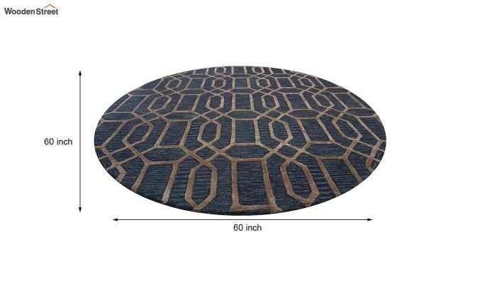 Blue Geometrical Pattern Hand Tufted Wool and Viscose Carpet - 5 x 5 Feet-7