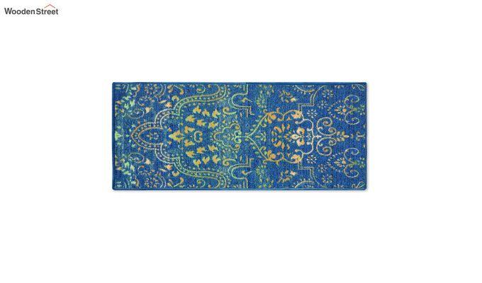 Blue Nylon Bed Side Runner with Antiskid Backing-2
