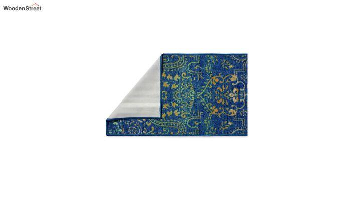 Blue Nylon Bed Side Runner with Antiskid Backing-3