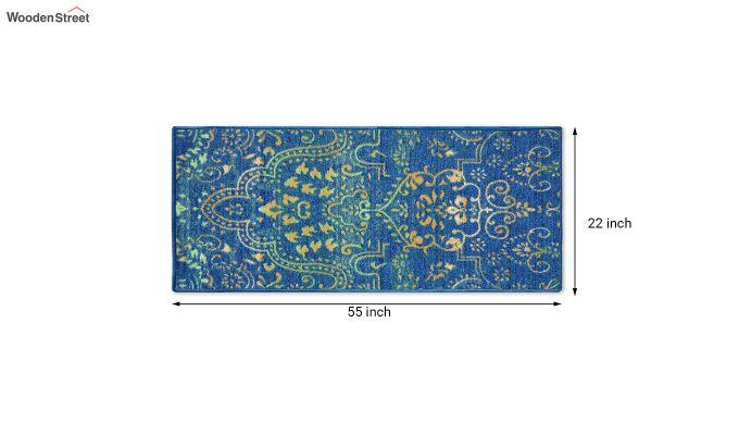 Blue Nylon Bed Side Runner with Antiskid Backing-4