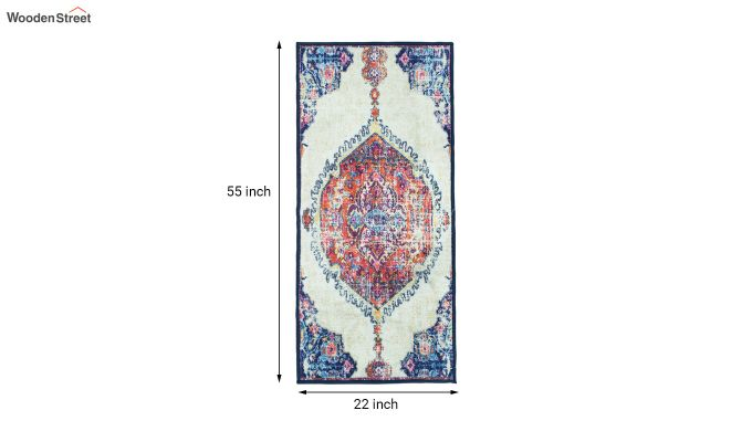 Blue Oriental Vintage Polyester Runner-7