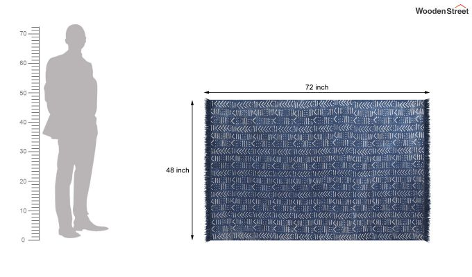 Blue Script Hand Woven Cotton Rug (Blue Script)-4