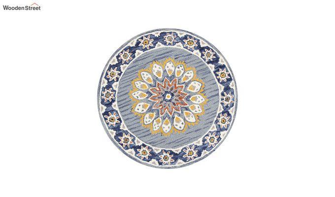 Blue Suzani Hand Tufted Wool Floor Mat - 3.6 x 3.6 Feet-2