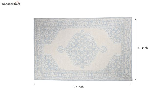 Blue Traditional Hand Tufted Carpet - 8 x 5 Feet-5