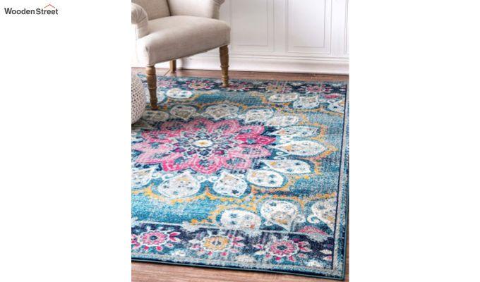 Blue Washed-Out Pattern Nylon Carpet - 7 x 5 Feet-4