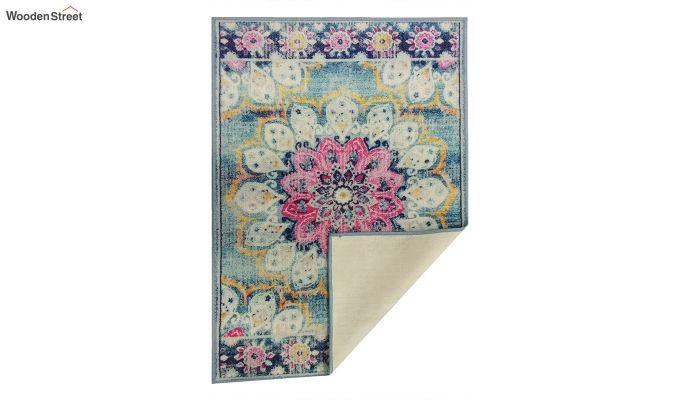 Blue Washed-Out Pattern Nylon Carpet - 7 x 5 Feet-6