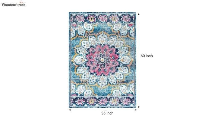 Blue Washed-Out Pattern Nylon Carpet - 5 x 3 Feet-7