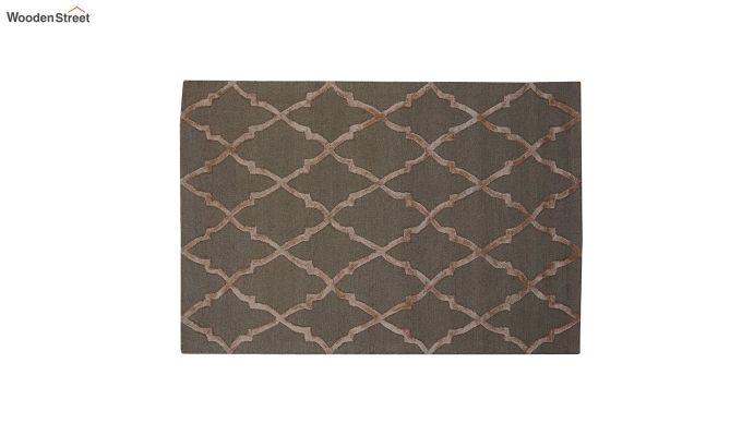 Brown Chevron Pattern Hand Tufted Wool & Viscose Carpet - 6 x 4 Feet-2
