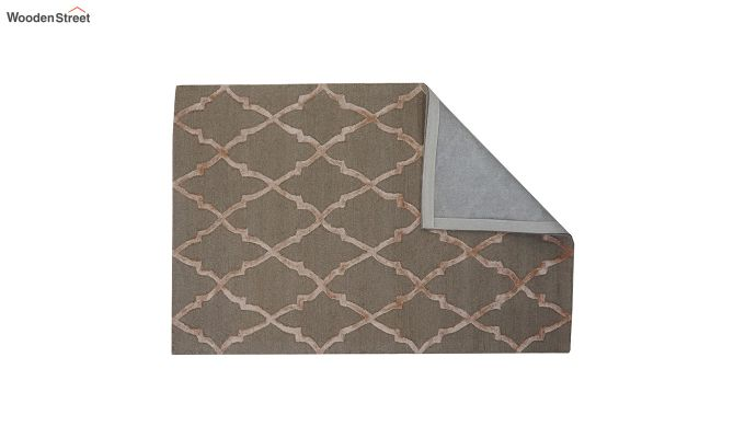 Brown Chevron Pattern Hand Tufted Wool & Viscose Carpet - 6 x 4 Feet-3