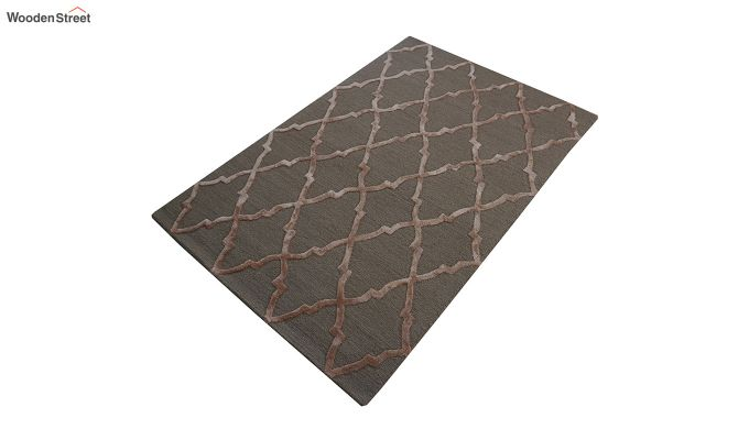 Brown Chevron Pattern Hand Tufted Wool & Viscose Carpet - 6 x 4 Feet-7
