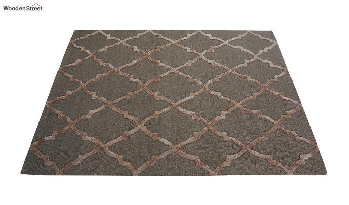 Brown Chevron Pattern Hand Tufted Wool & Viscose Carpet - 6 x 4 Feet-8