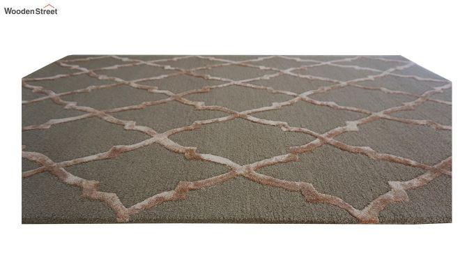 Brown Chevron Pattern Hand Tufted Wool & Viscose Carpet - 6 x 4 Feet-9