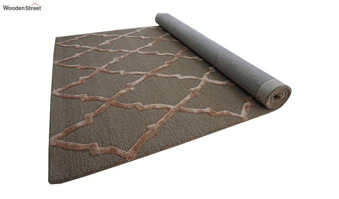 Brown Chevron Pattern Hand Tufted Wool & Viscose Carpet - 6 x 4 Feet-10