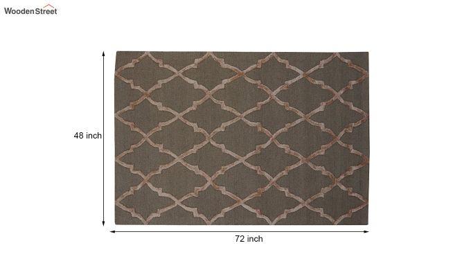 Brown Chevron Pattern Hand Tufted Wool & Viscose Carpet - 6 x 4 Feet-11