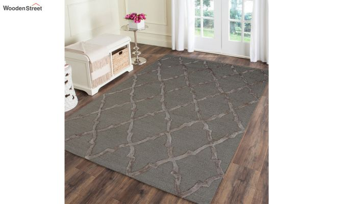 Brown Chevron Pattern Wool & Viscose Hand Tufted Carpet - 9.9 x 6.6 Feet-1