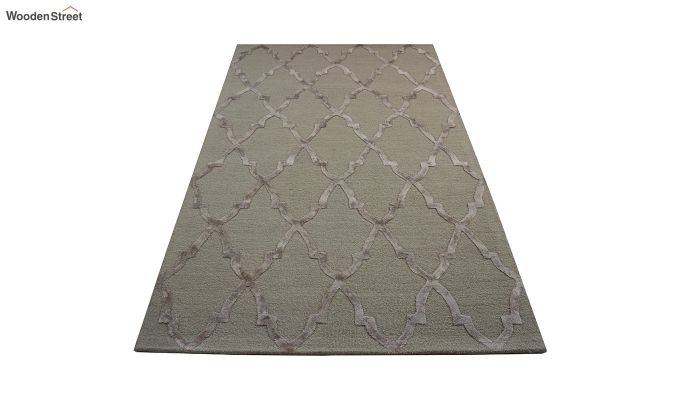 Brown Chevron Pattern Wool & Viscose Hand Tufted Carpet - 6 x 4 Feet-2