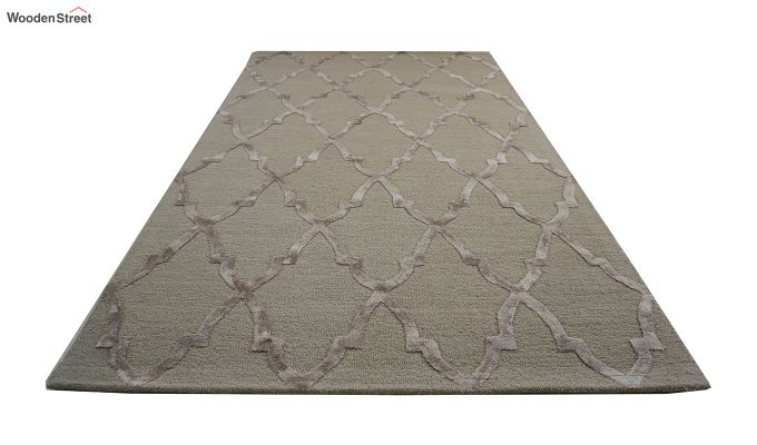 Brown Chevron Pattern Wool & Viscose Hand Tufted Carpet - 6 x 4 Feet-3