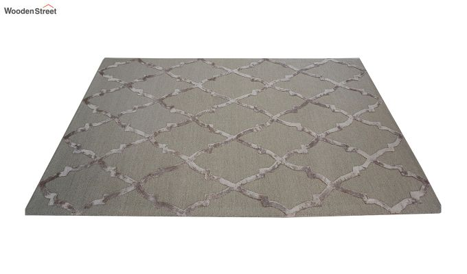 Brown Chevron Pattern Wool & Viscose Hand Tufted Carpet - 9.9 x 6.6 Feet-5
