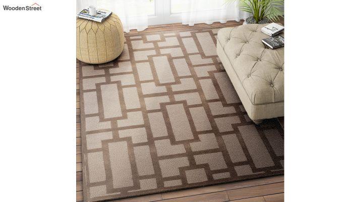 Brown Embossed Hand Tufted Wool Carpet - 8 x 5 Feet-1