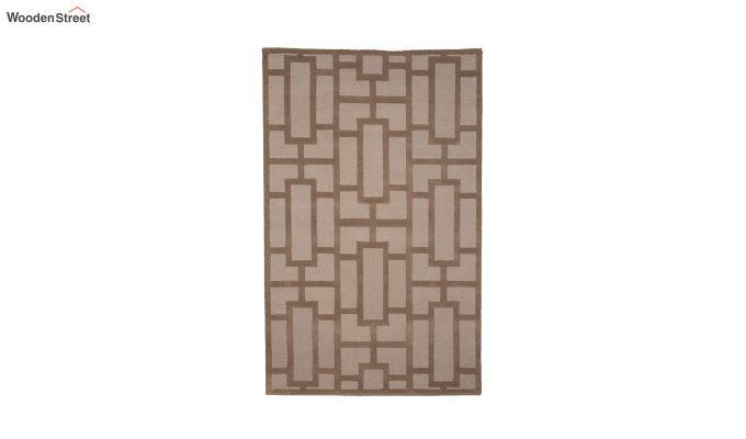 Brown Embossed Hand Tufted Wool Carpet - 8 x 5 Feet-2