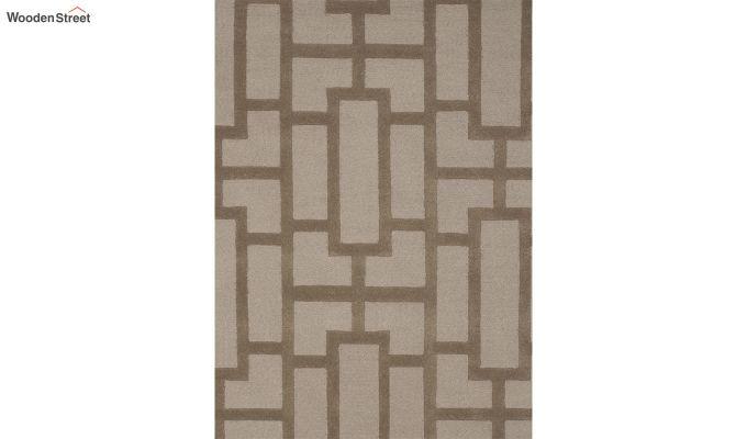 Brown Embossed Hand Tufted Wool Carpet - 8 x 5 Feet-3