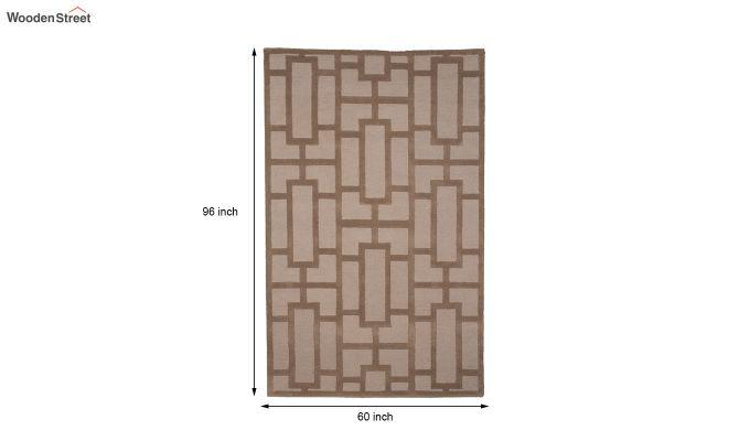 Brown Embossed Hand Tufted Wool Carpet - 8 x 5 Feet-4