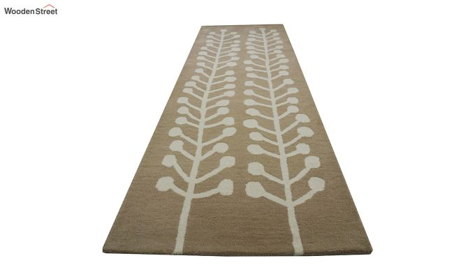 Brown Hand Tufted Cut Pile Wool Carpet - 8 x 2.6 Feet-5